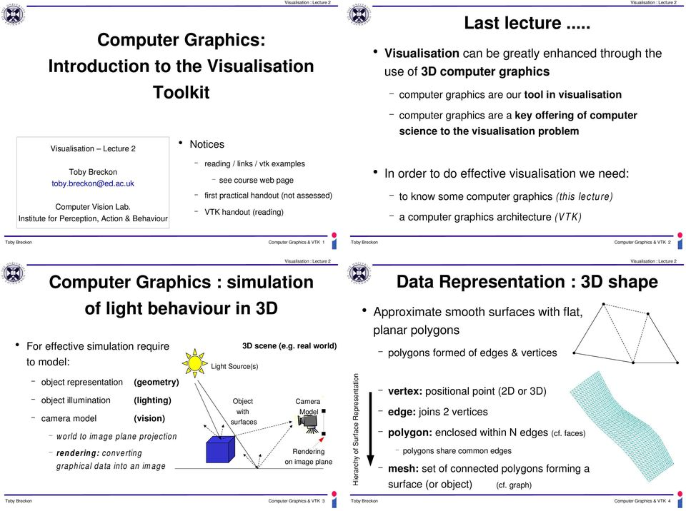 Institute for Perception, Action & Behaviour computer graphics are our tool in visualisation computer graphics are a key offering of computer science to the visualisation problem Notices reading /