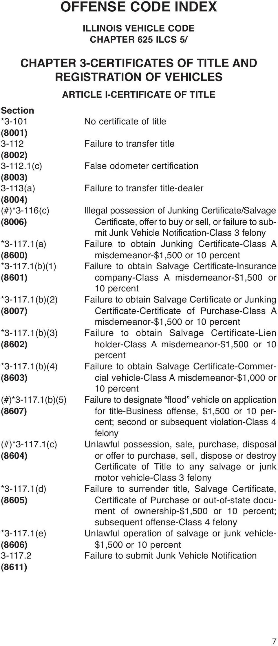 1(c) False odometer certification (8003) 3-113(a) Failure to transfer title-dealer (8004) (#)*3-116(c) Illegal possession of Junking Certificate/Salvage (8006) Certificate, offer to buy or sell, or
