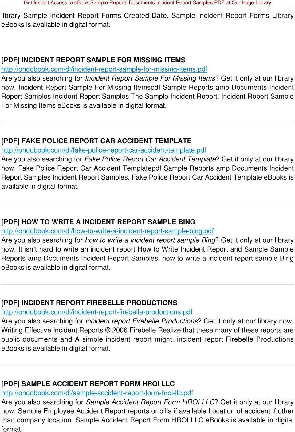Incident Report Sample For Missing Itemspdf Sample Reports amp Documents Incident Report Samples Incident Report Samples The Sample Incident Report.