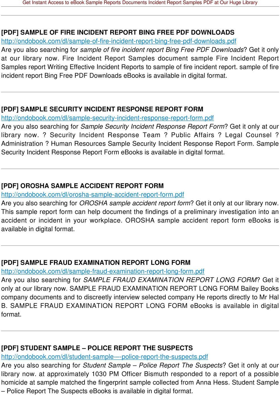 Fire Incident Report Samples document sample Fire Incident Report Samples report Writing Effective Incident Reports to sample of fire incident report.