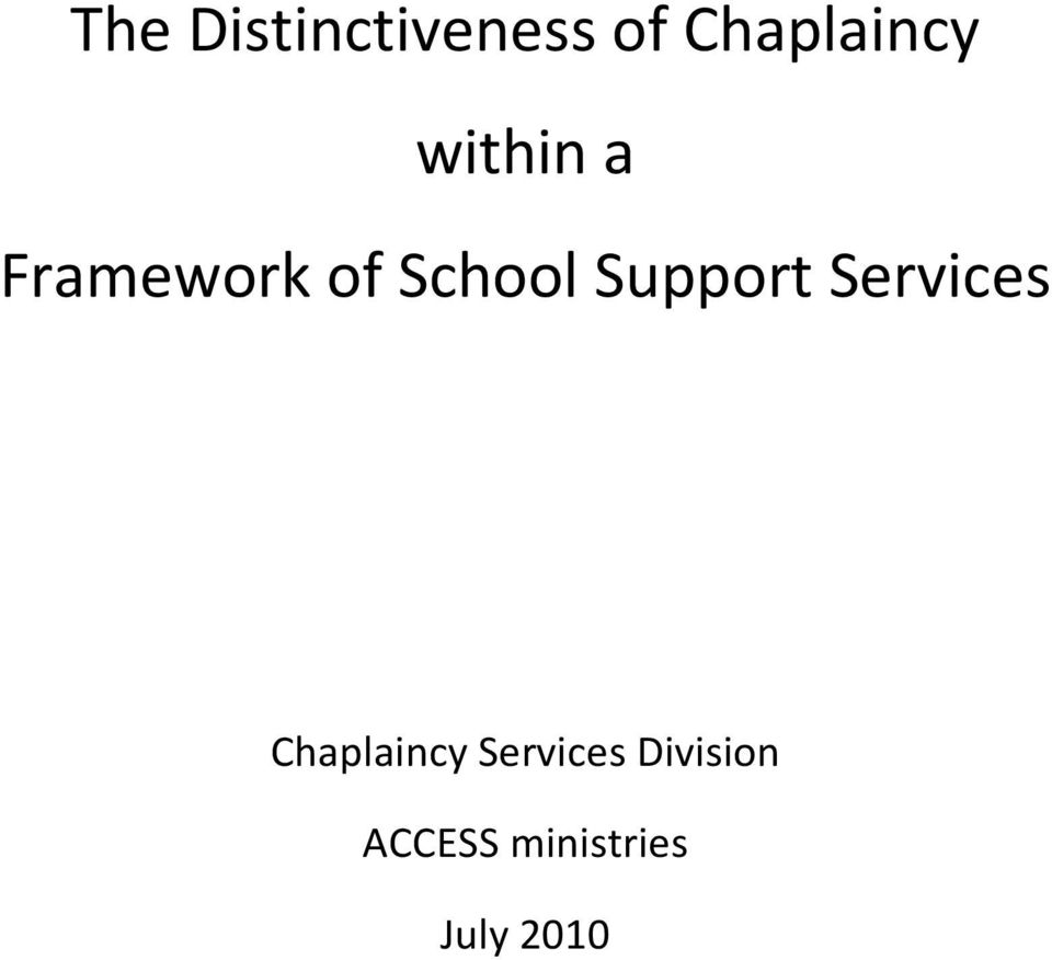 Support Services Chaplaincy
