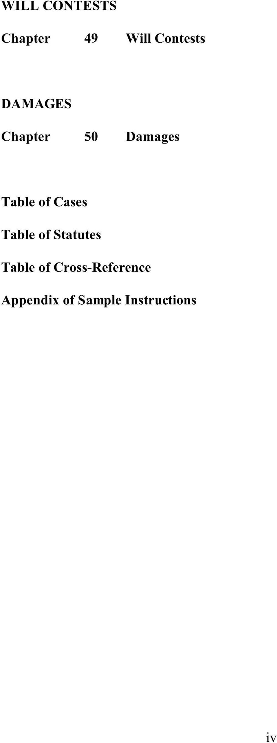 Cases Table of Statutes Table of