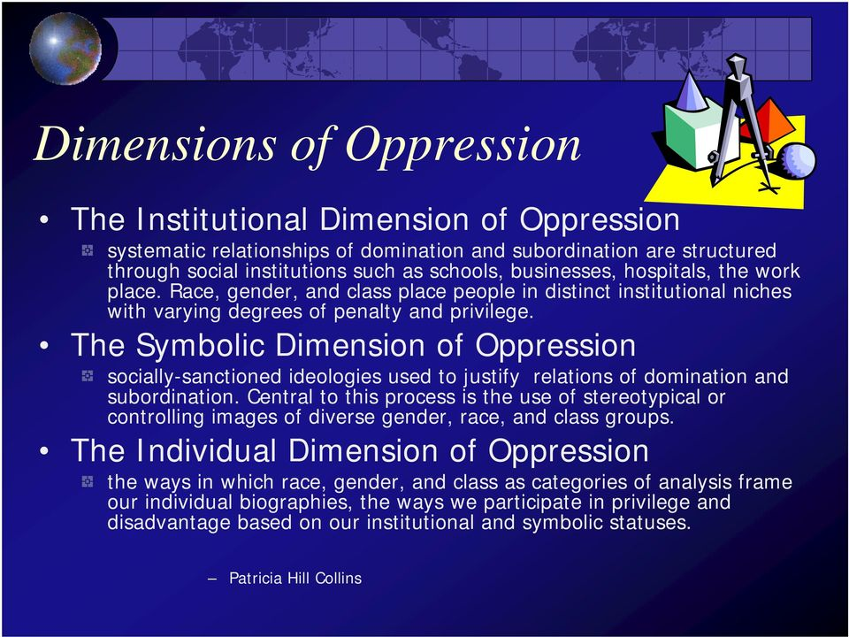 The Symbolic Dimension of Oppression socially-sanctioned ideologies used to justify relations of domination and subordination.