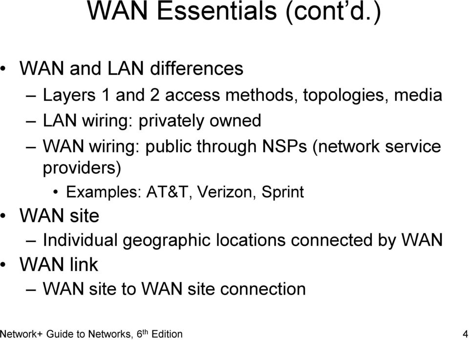 privately owned WAN wiring: public through NSPs (network service providers) Examples: