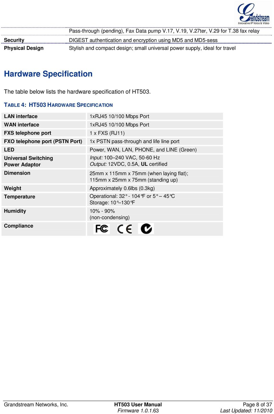table below lists the hardware specification of HT503.