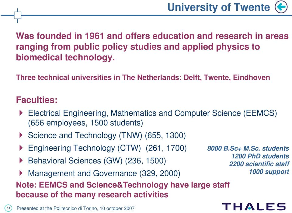 1500 students) Science and Technology (TNW) (655, 1300) Engineering Technology (CTW) (261, 1700) Behavioral Sciences (GW) (236, 1500) Management and Governance (329,