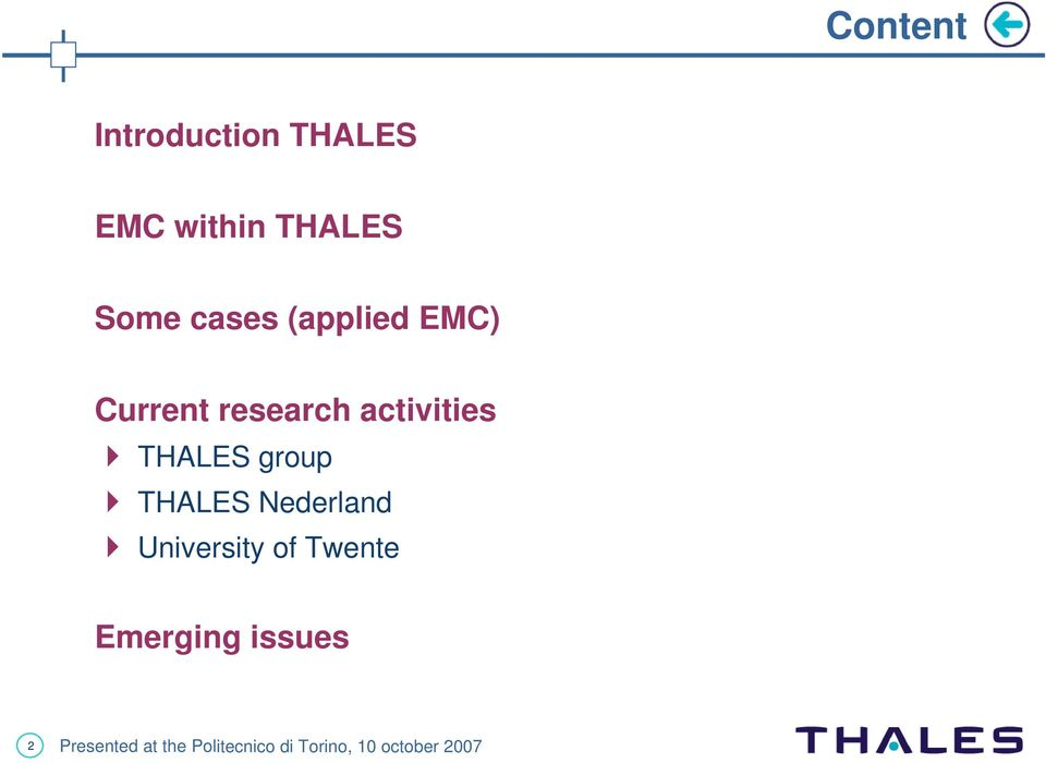research activities THALES group THALES