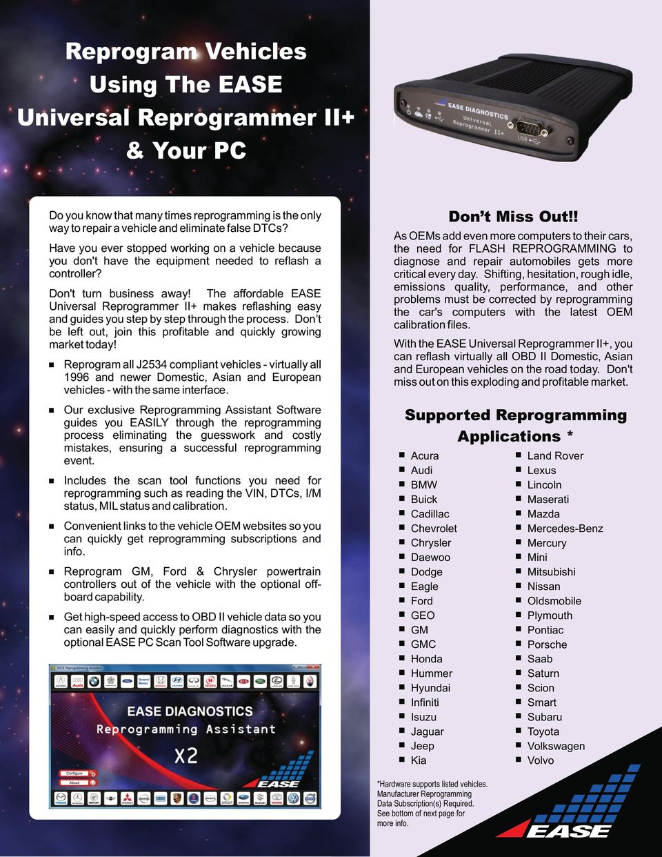 The affordable EASE Universal Reprogrammer II+ makes reflashing easy and guides you step by step through the process. Don t be left out, join this profitable and quickly growing market today!