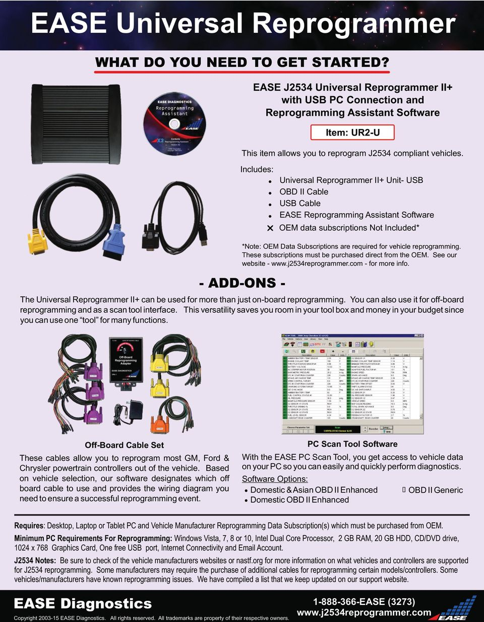 - ADD-ONS - EASE J2534 Universal Reprogrammer II+ with USB PC Connection and Reprogramming Assistant Software Includes:! Universal Reprogrammer II+ Unit- USB! OBD II Cable! USB Cable!