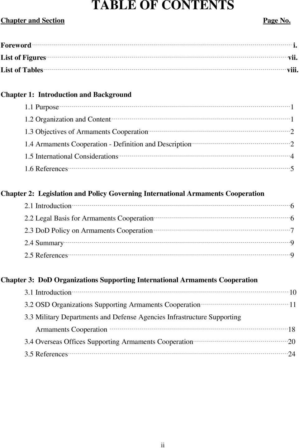 6 References 5 Chapter 2: Legislation and Policy Governing International Armaments Cooperation 2.1 Introduction 6 2.2 Legal Basis for Armaments Cooperation 6 2.