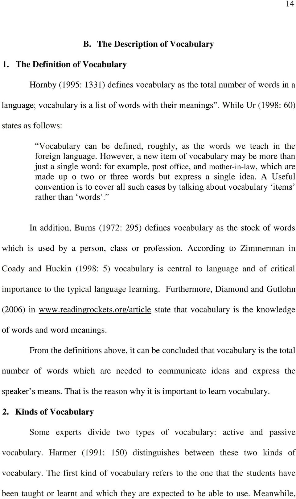 While Ur (1998: 60) states as follows: Vocabulary can be defined, roughly, as the words we teach in the foreign language.