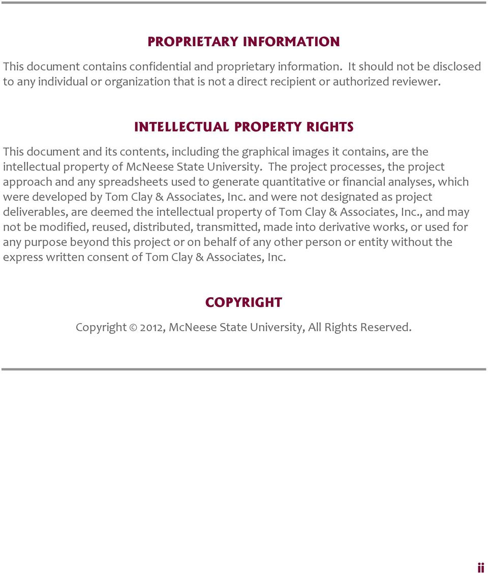INTELLECTUAL PROPERTY RIGHTS This document and its contents, including the graphical images it contains, are the intellectual property of McNeese State University.
