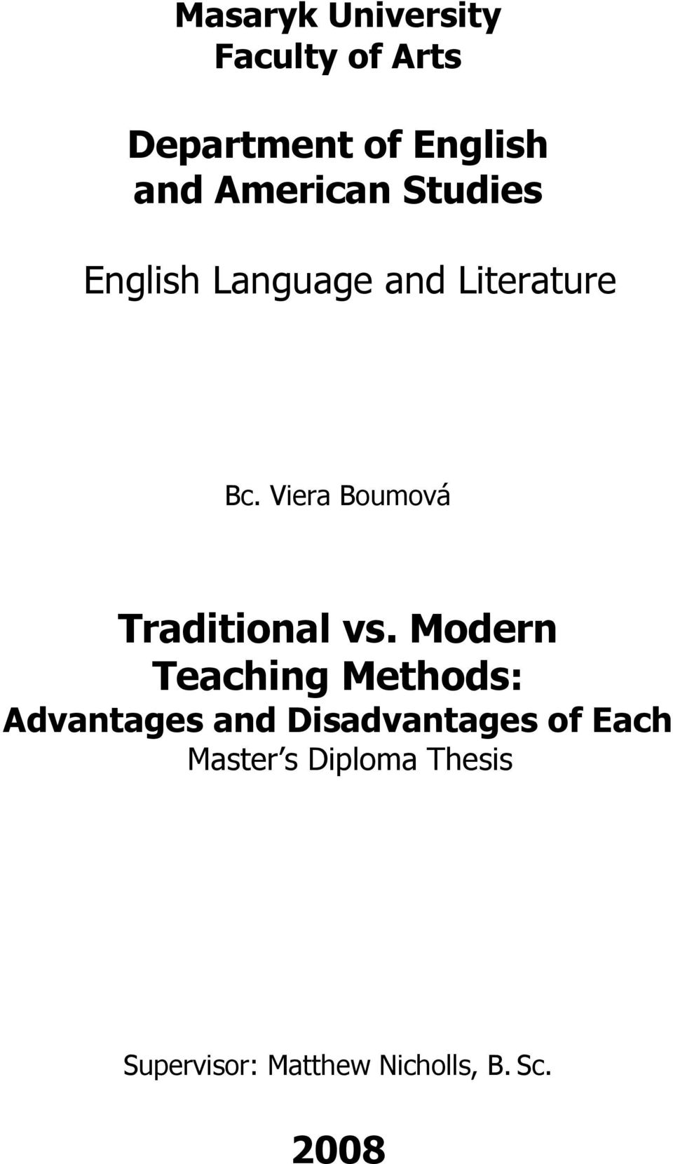 Thesis of english language teaching