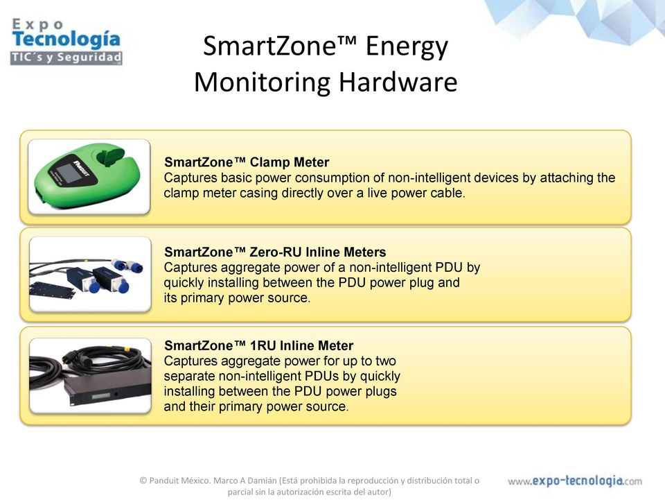 SmartZone Zero-RU Inline Meters Captures aggregate power of a non-intelligent PDU by quickly installing between the PDU power plug
