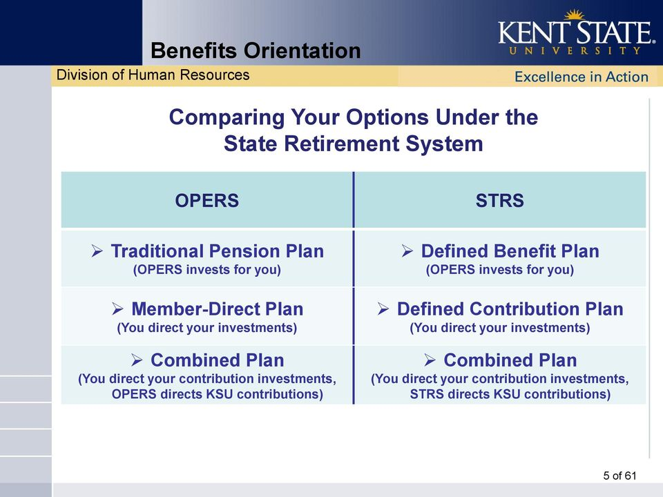 directs KSU contributions) STRS Defined Benefit Plan (OPERS invests for you) Defined Contribution Plan (You
