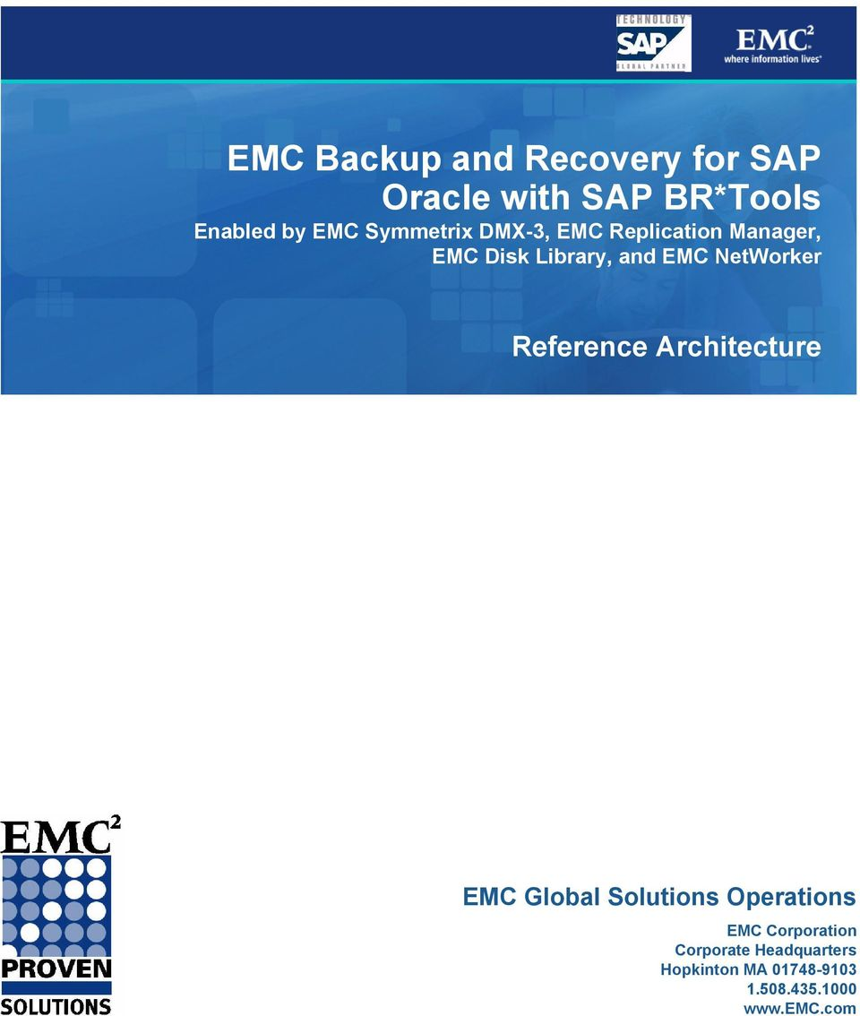 NetWorker Reference Architecture EMC Global Solutions Operations EMC