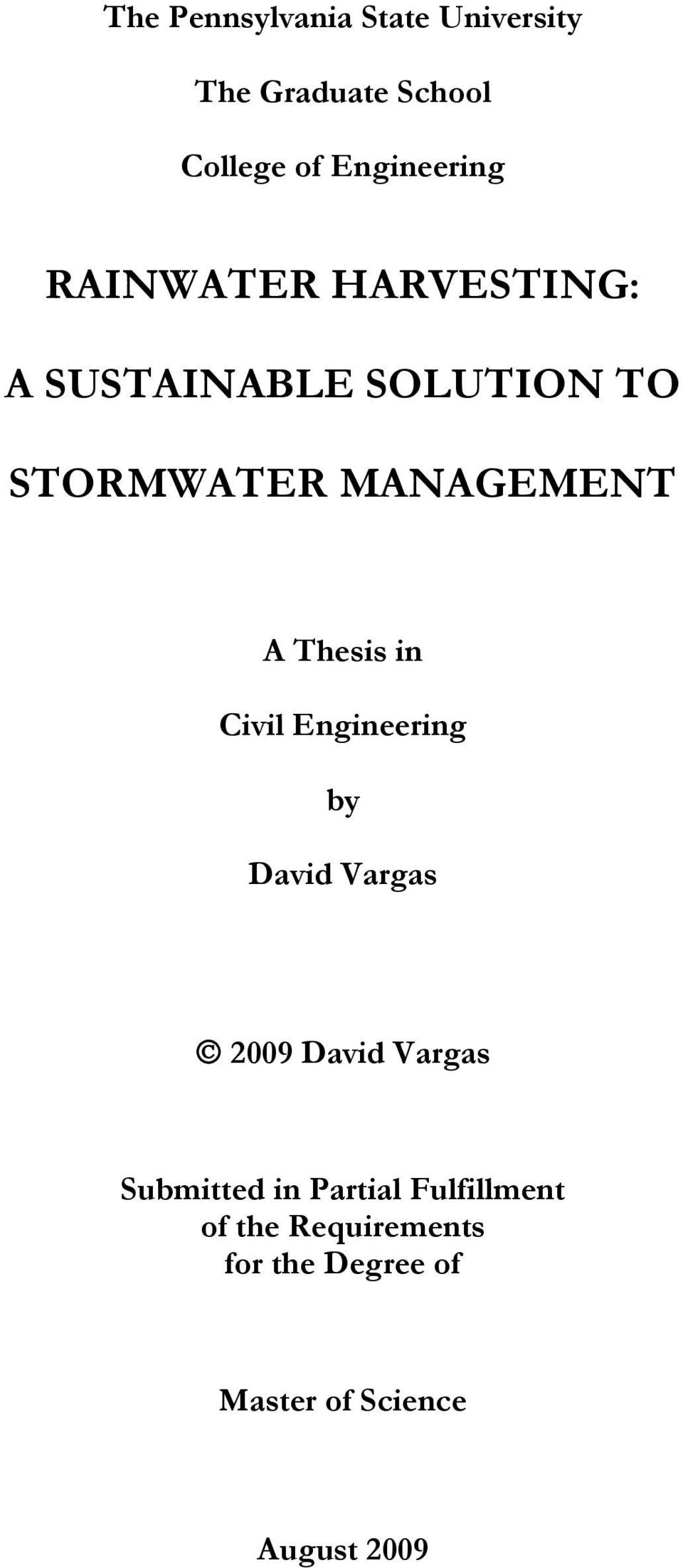 Thesis in Civil Engineering by David Vargas 2009 David Vargas Submitted in