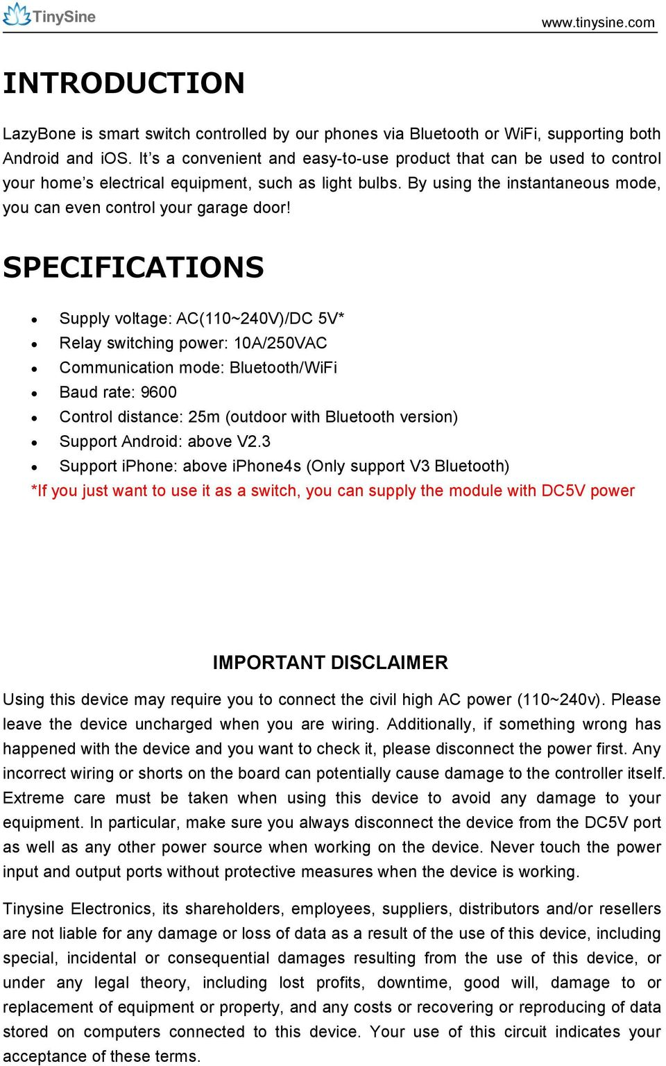 Tosr 04 5 10b C Lazybone Smartphone Controlled Switch User Relay Android Specifications Supply Voltage Ac110240v Dc 5v Switching