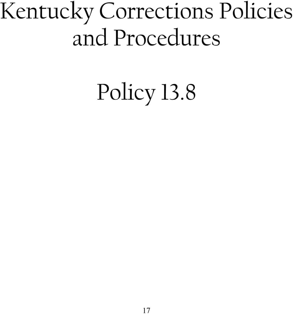 Policies and