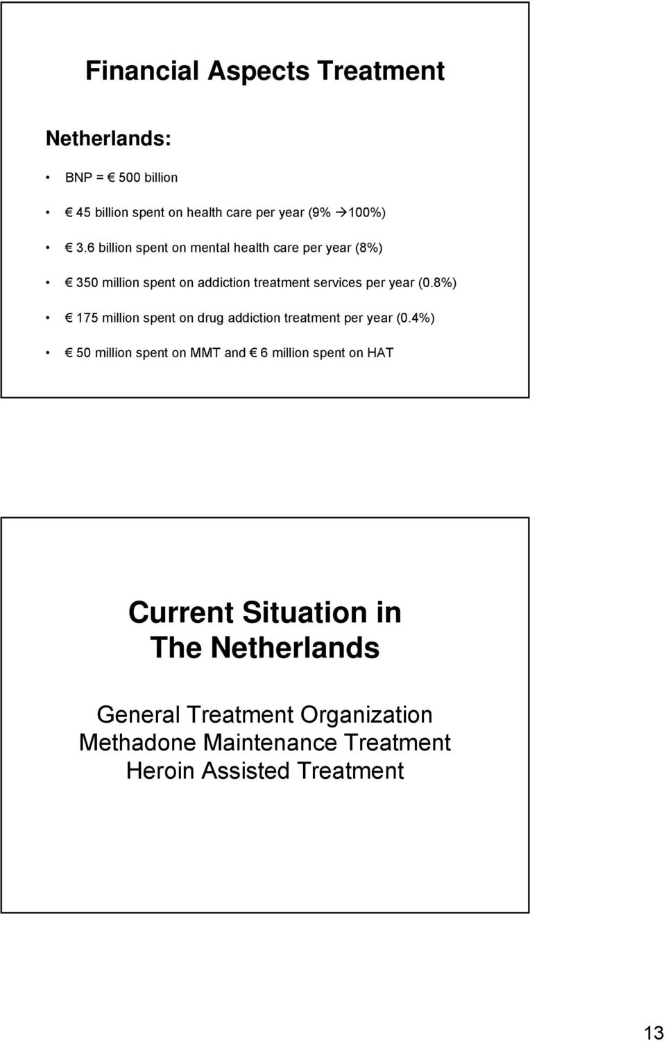 8%) 175 million spent on drug addiction treatment per year (.