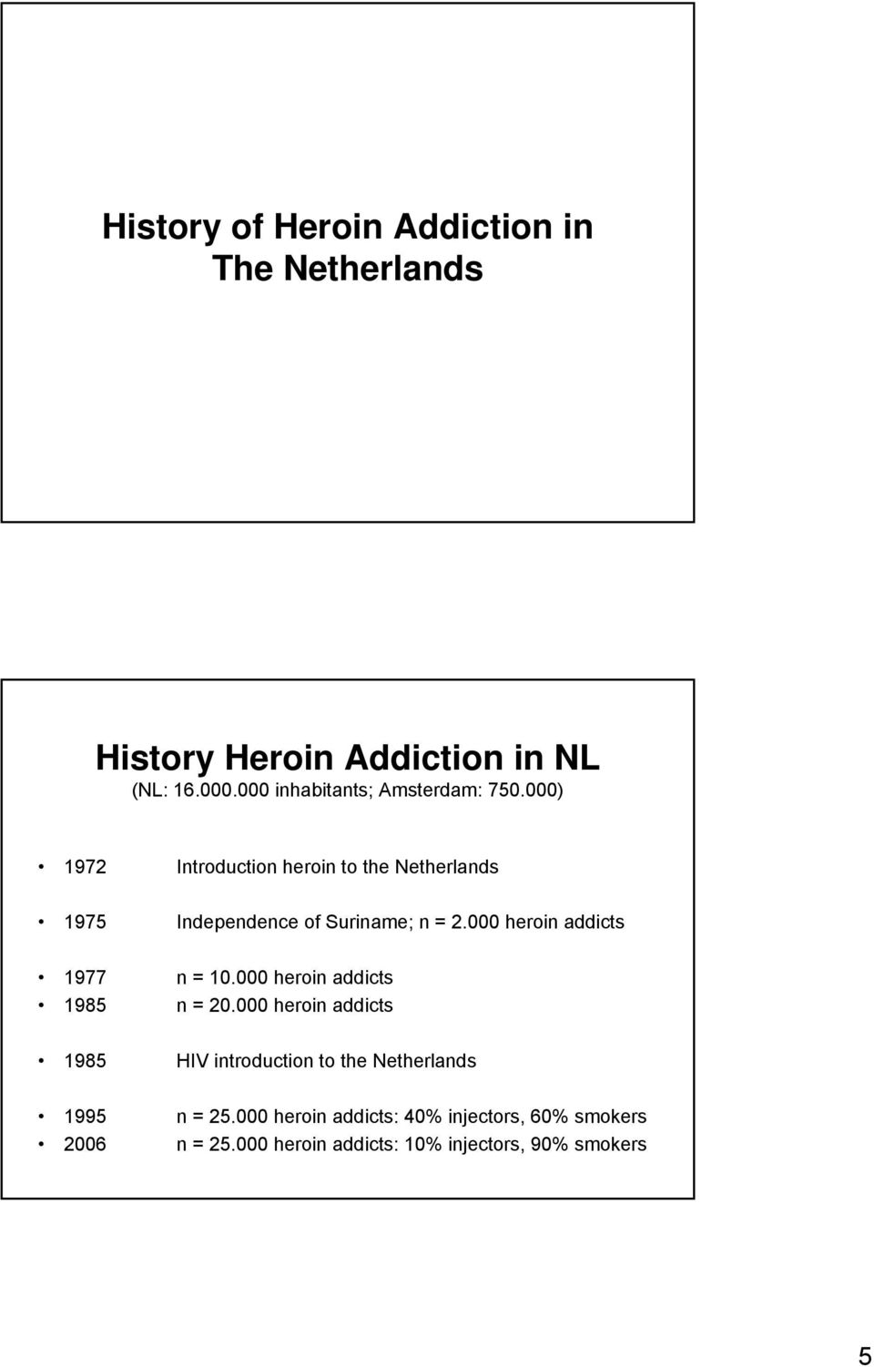 ) 1972 Introduction heroin to the Netherlands 1975 Independence of Suriname; n = 2.