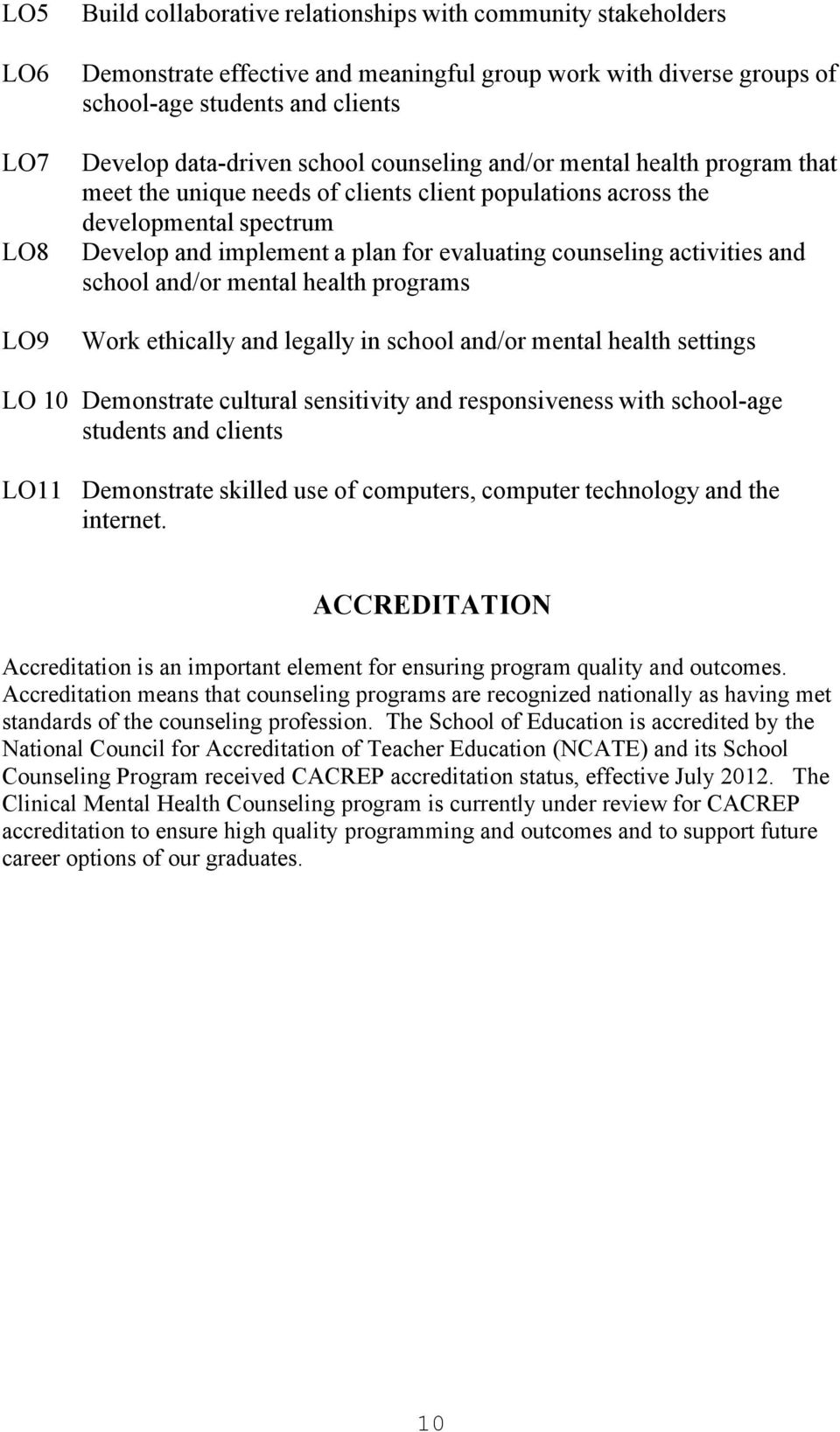 counseling activities and school and/or mental health programs Work ethically and legally in school and/or mental health settings LO 10 Demonstrate cultural sensitivity and responsiveness with