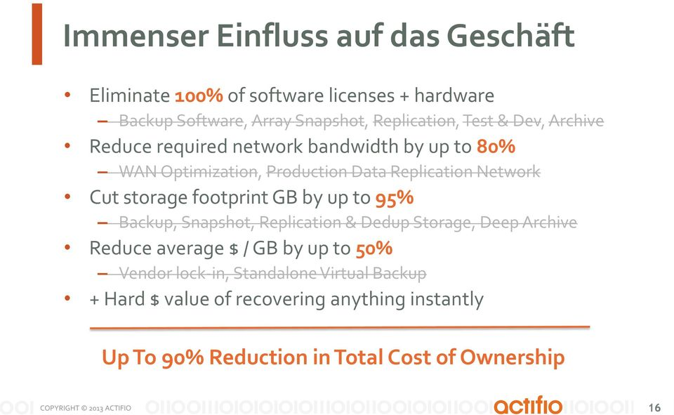 storage footprint GB by up to 95% Backup, Snapshot, Replication & Dedup Storage, Deep Archive Reduce average $ / GB by up to 50%