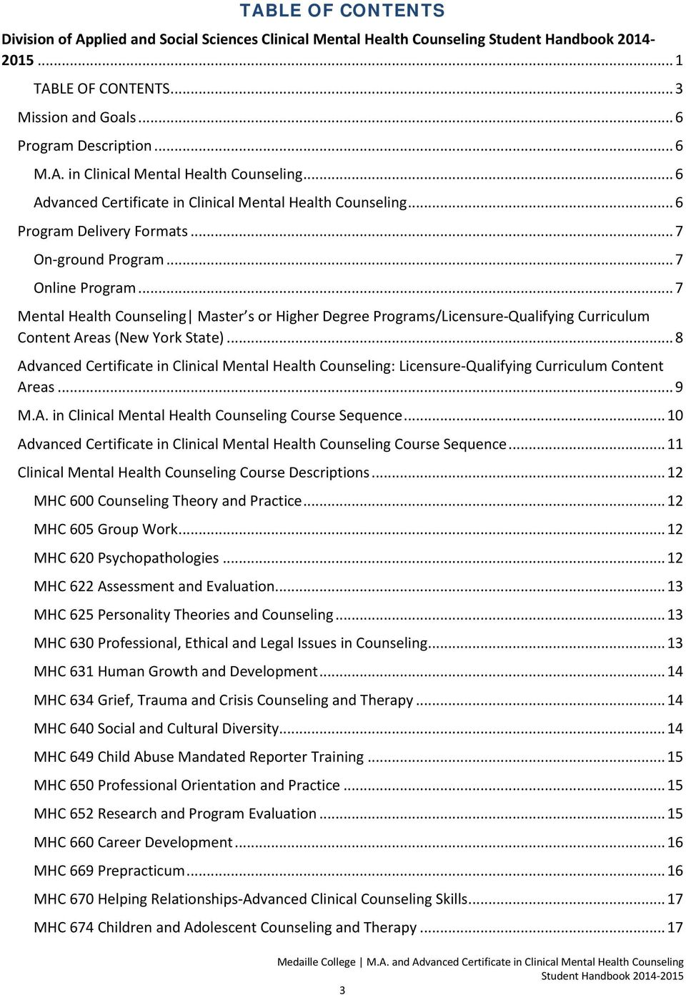 .. 7 Mental Health Counseling Master s or Higher Degree Programs/Licensure-Qualifying Curriculum Content Areas (New York State).