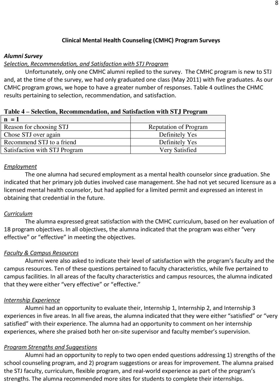 Table 4 outlines the CHMC results pertaining to selection, recommendation, and satisfaction.