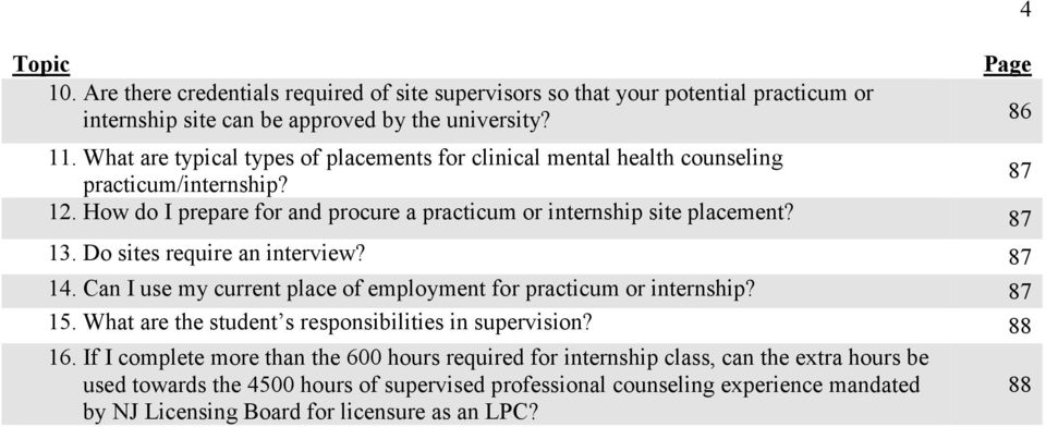 Do sites require an interview? 87 14. Can I use my current place of employment for practicum or internship? 87 15. What are the student s responsibilities in supervision? 88 16.