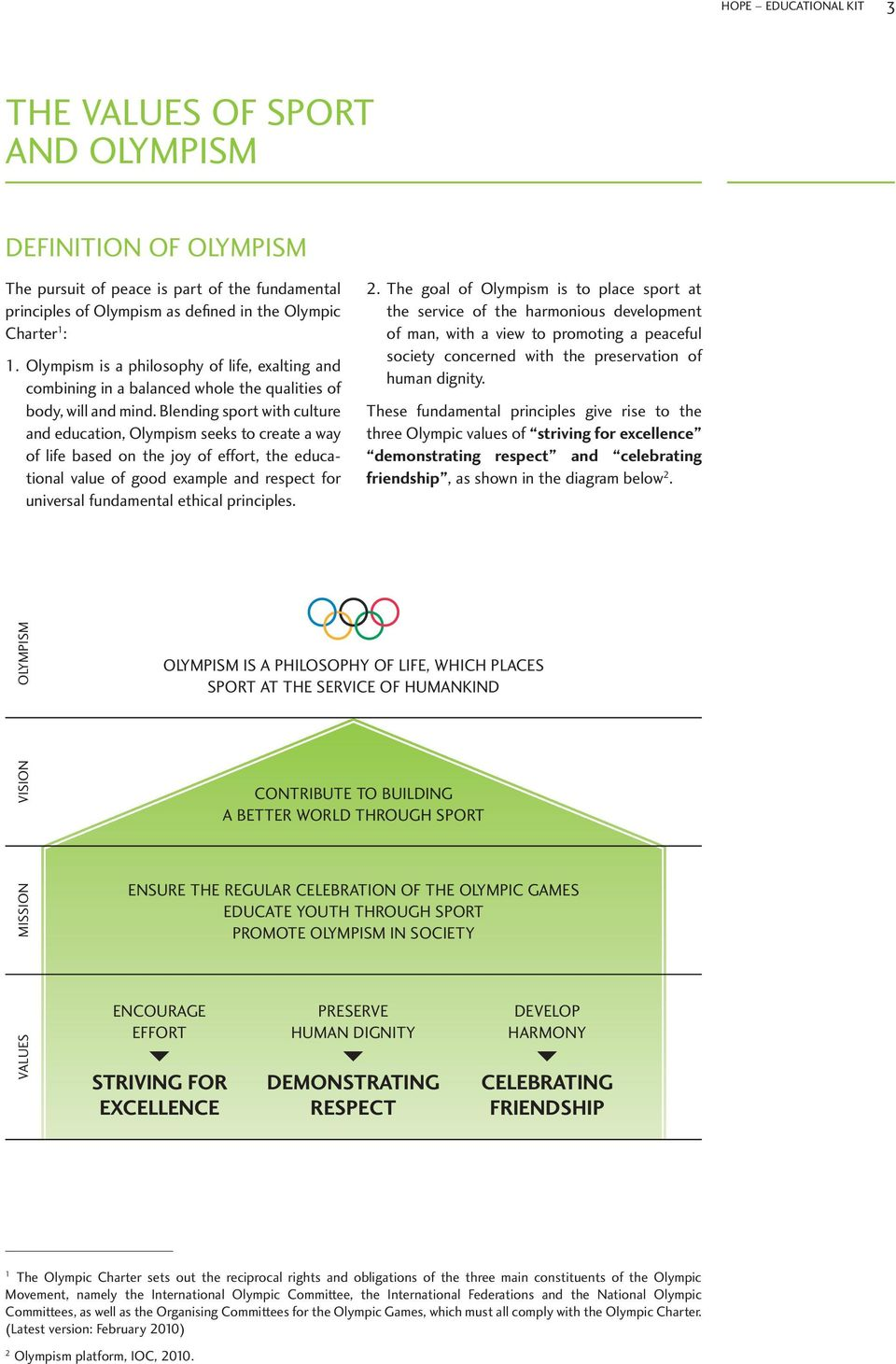Blending sport with culture and education, Olympism seeks to create a way of life based on the joy of effort, the educational value of good example and respect for universal fundamental ethical