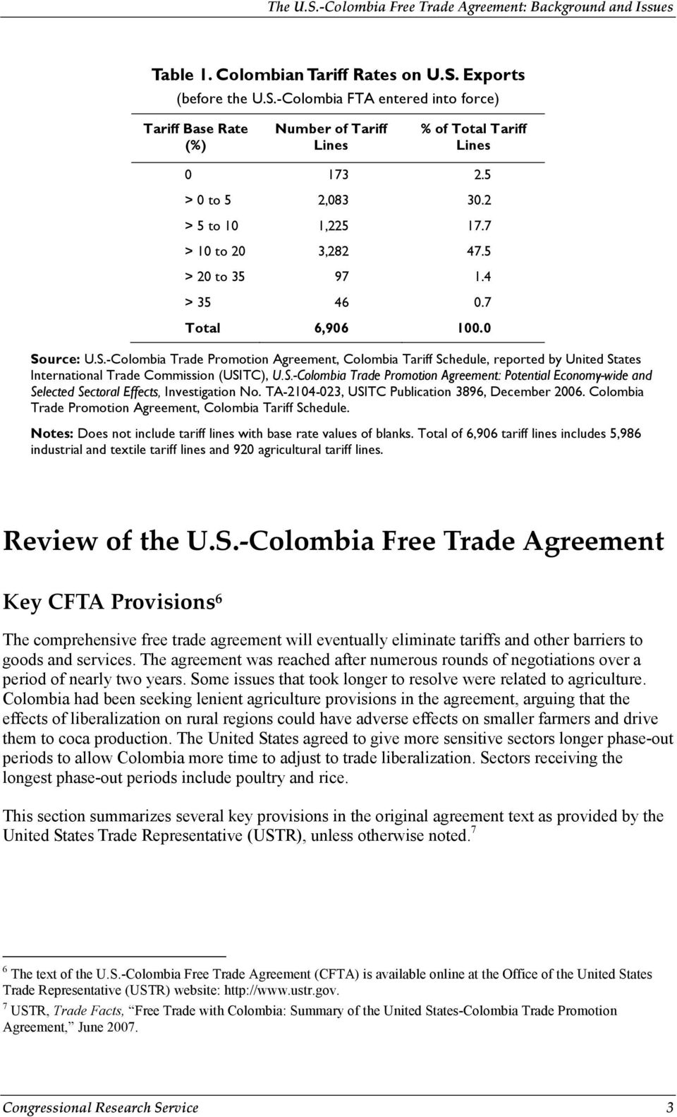 urce: U.S.-Colombia Trade Promotion Agreement, Colombia Tariff Schedule, reported by United States International Trade Commission (USITC), U.S.-Colombia Trade Promotion Agreement: Potential Economy-wide and Selected Sectoral Effects, Investigation No.