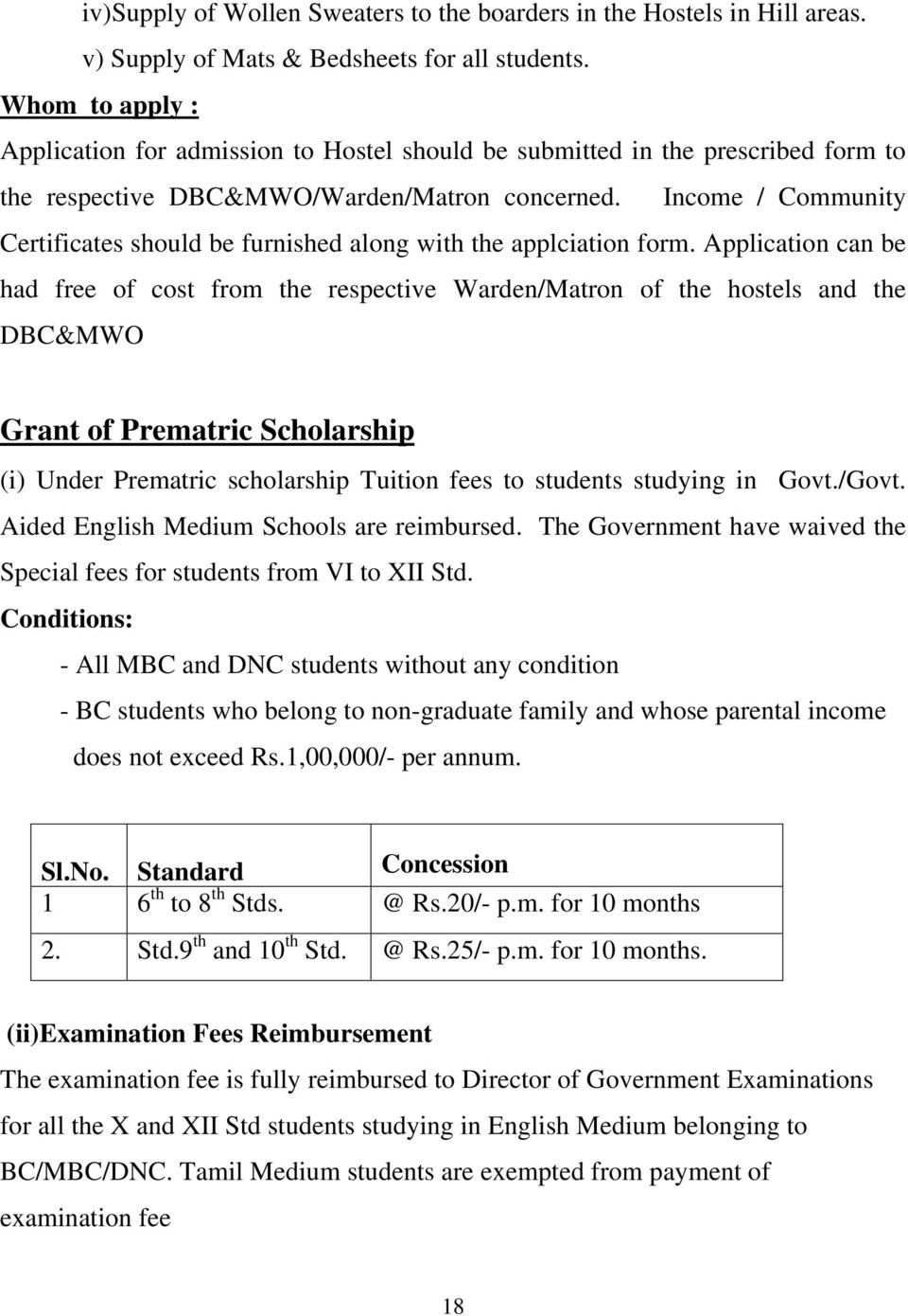 Income / Community Certificates should be furnished along with the applciation form.