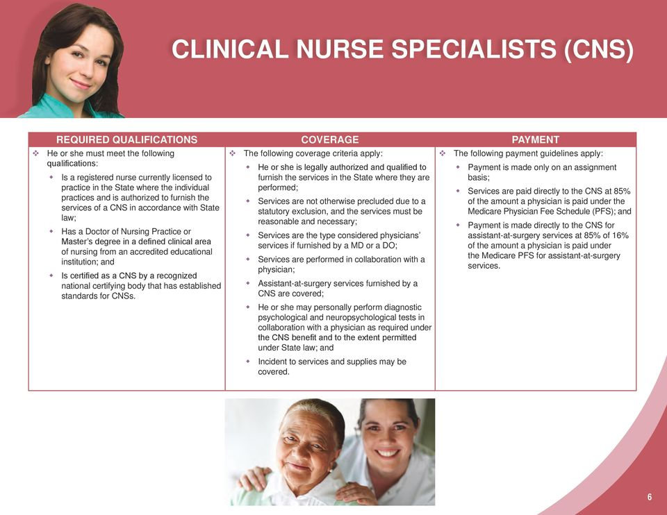 Doctor of Nursing Practice or Master s degree in a defined clinical area of nursing from an accredited educational institution; and Is certified as a CNS by a recognized national certifying body that