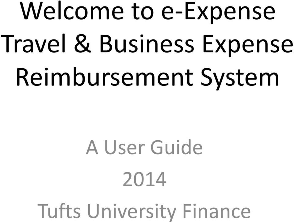 Reimbursement System A User