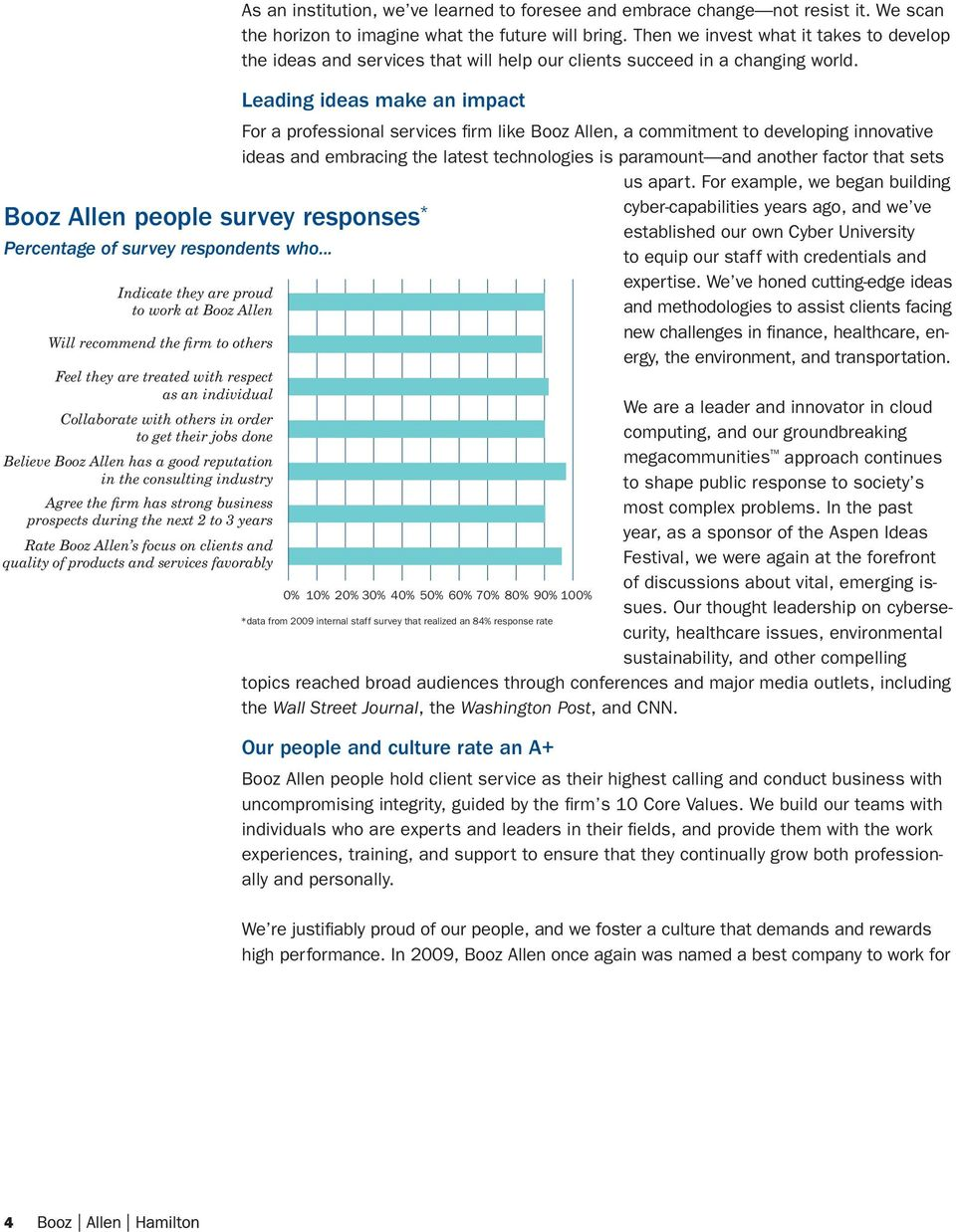 Booz Allen has a good reputation in the consulting industry Agree the firm has strong business prospects during the next 2 to 3 years Rate Booz Allen s focus on clients and quality of products and