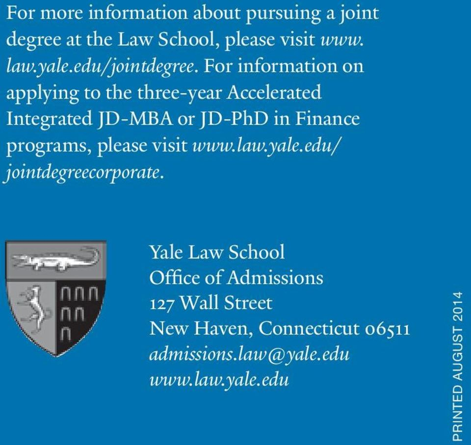 JOINT DEGREES  Yale Law School - PDF