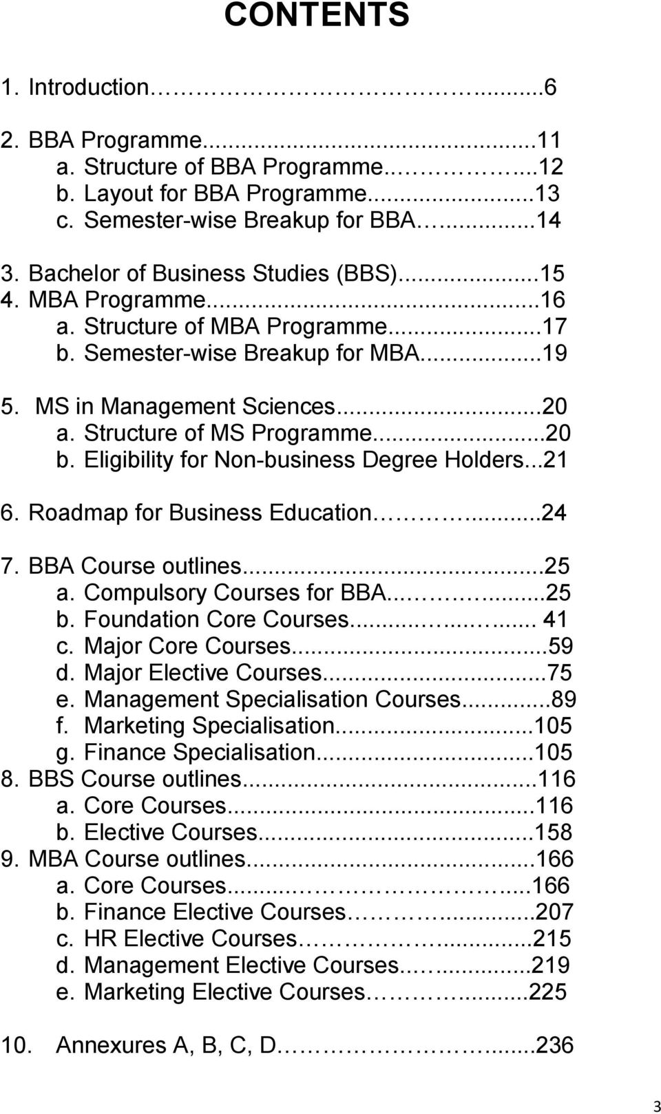 Eligibility for Non-business Degree Holders...21 6. Roadmap for Business Education...24 7. BBA Course outlines...25 a. Compulsory Courses for BBA.......25 b. Foundation Core Courses......... 41 c.