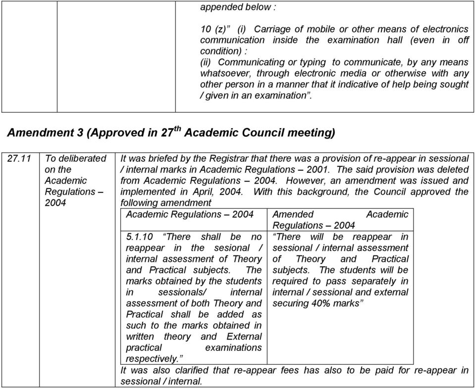 Amendment 3 (Approved in 27 th Academic Council meeting) 27.