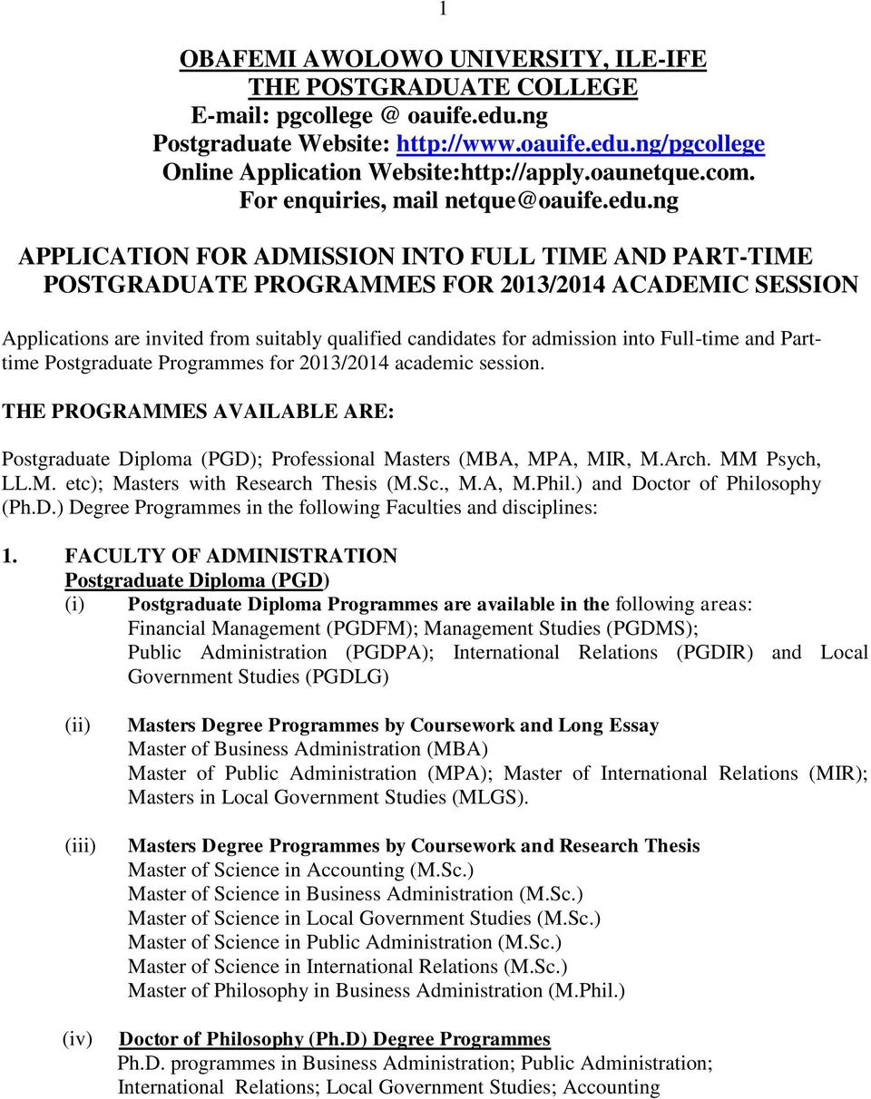 application for admission into full time and part time ng application for admission into full time and part time postgraduate programmes for 2013