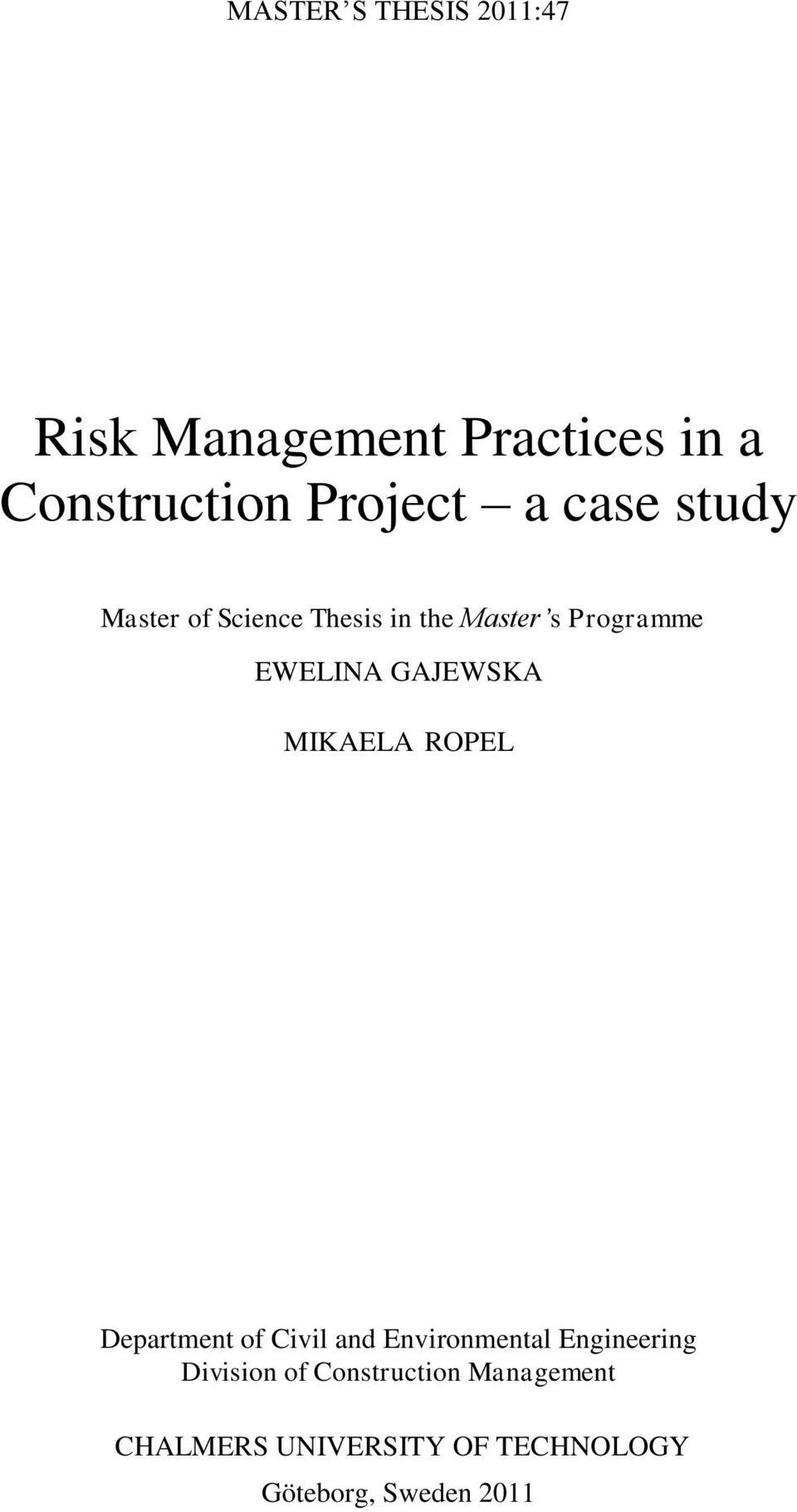 interaction design master thesis on risk