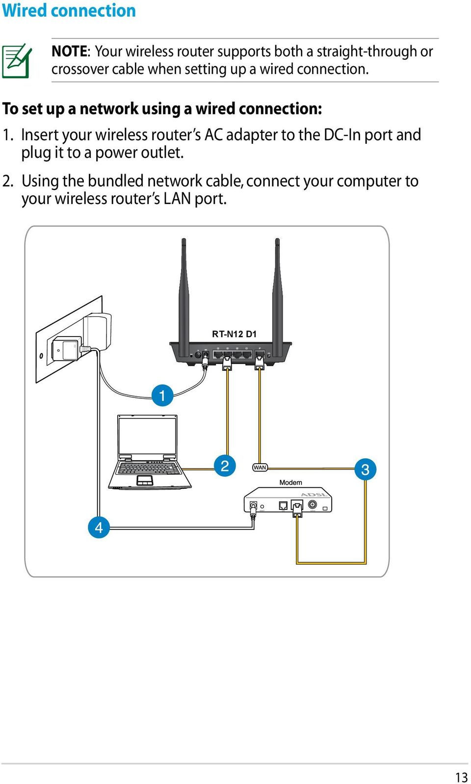Insert your wireless router s AC adapter to the DC-In port and plug it to a power outlet. 2.