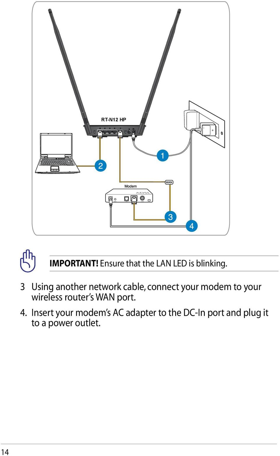 wireless router s WAN port. 4.