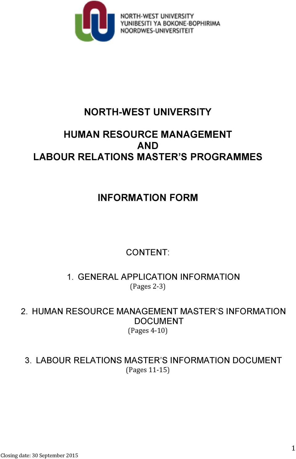 GENERAL APPLICATION INFORMATION (Pages 2-3) 2.