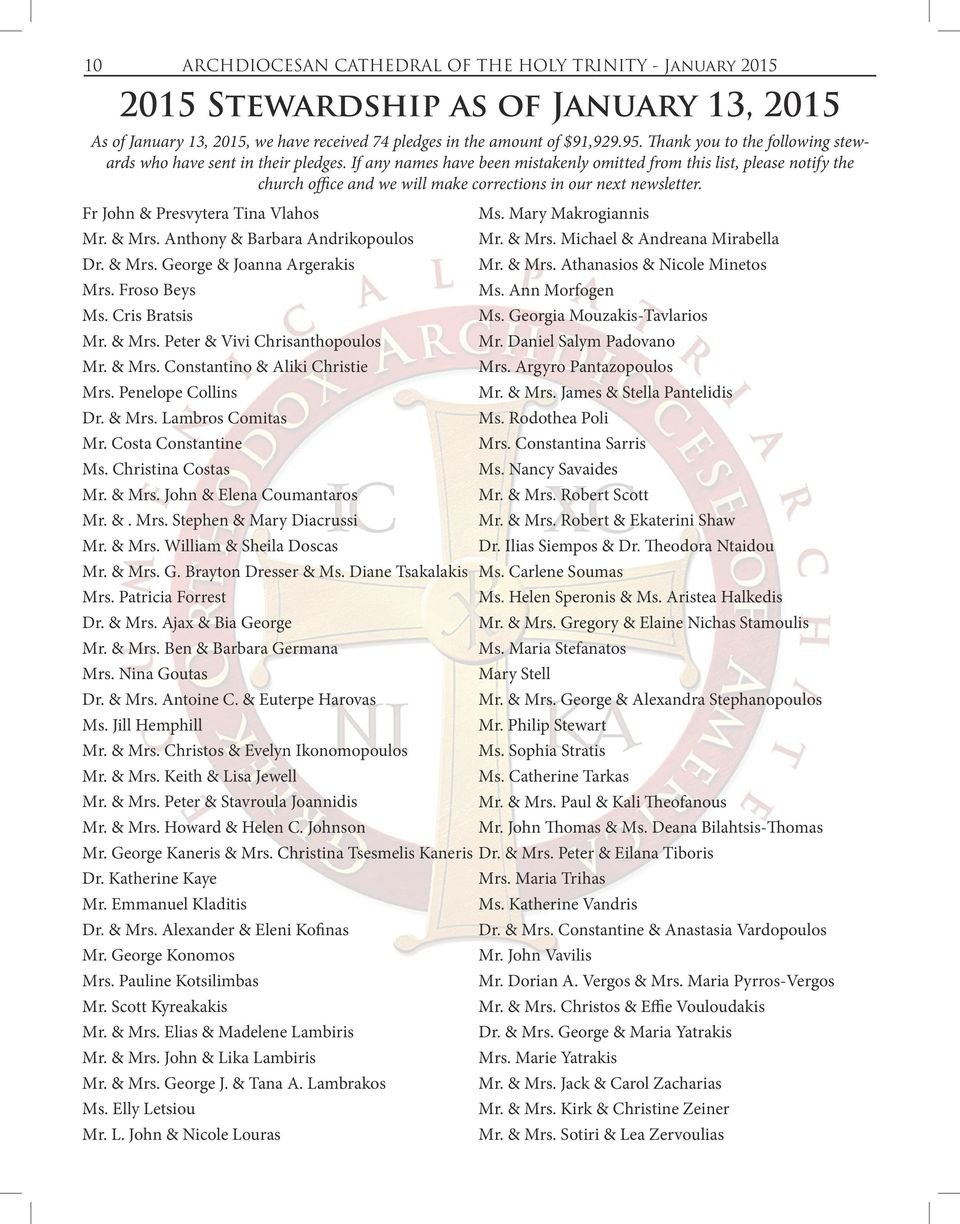 If any names have been mistakenly omitted from this list, please notify the church office and we will make corrections in our next newsletter. Fr John & Presvytera Tina Vlahos Ms.