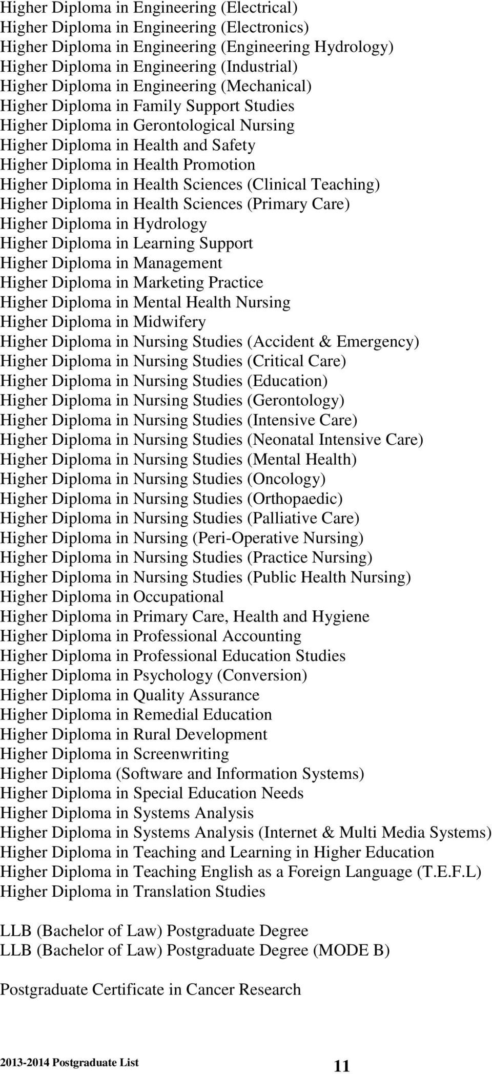 Health Sciences (Clinical Teaching) Higher Diploma in Health Sciences (Primary Care) Higher Diploma in Hydrology Higher Diploma in Learning Support Higher Diploma in Management Higher Diploma in