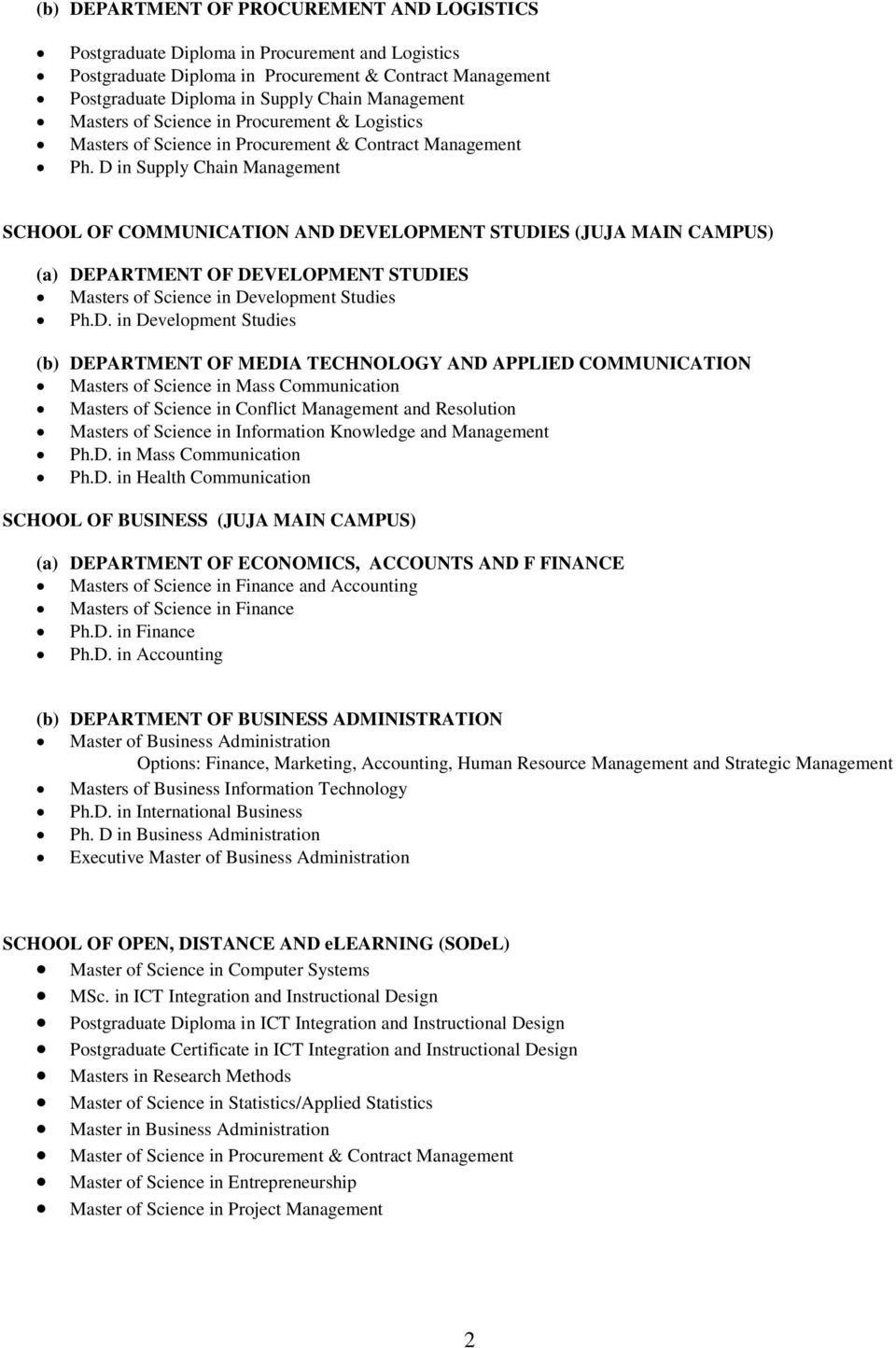 D in Supply Chain SCHOOL OF COMMUNICATION AND DEVELOPMENT STUDIES (JUJA MAIN CAMPUS) (a) DEPARTMENT OF DEVELOPMENT STUDIES Masters of Science in Development Studies Ph.D. in Development Studies (b)