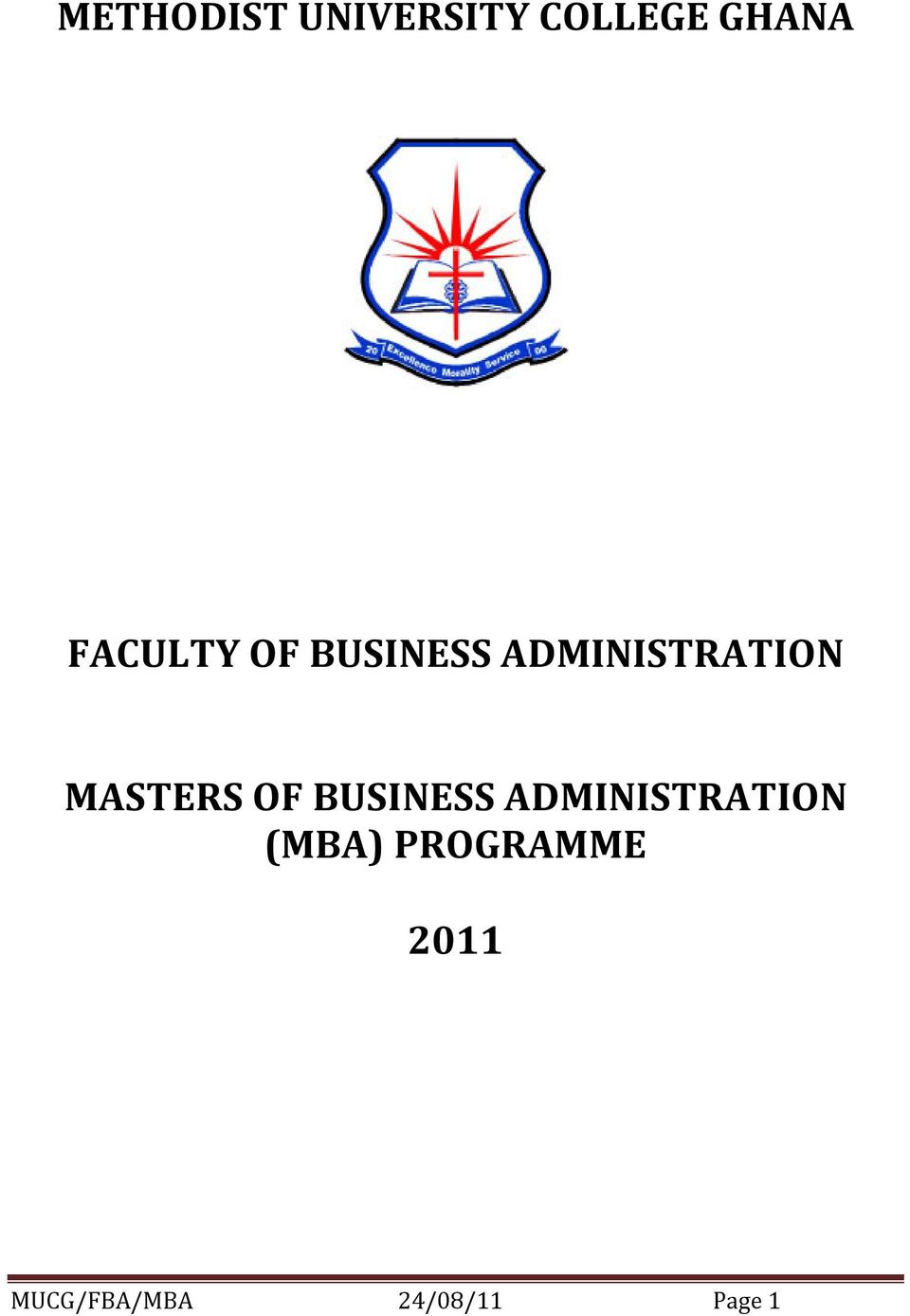 MASTERS OF BUSINESS ADMINISTRATION