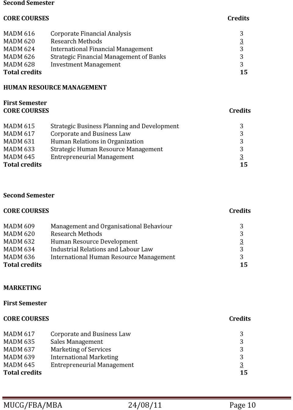 in Organization 3 MADM 633 Strategic Human Resource Management 3 MADM 645 Entrepreneurial Management 3 Total credits 15 Second Semester MADM 609 Management and Organisational Behaviour 3 MADM 620