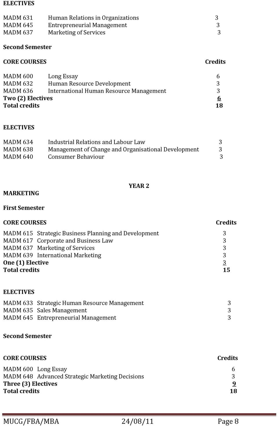 Development 3 MADM 640 Consumer Behaviour 3 MARKETING YEAR 2 First Semester MADM 615 Strategic Business Planning and Development 3 MADM 617 Corporate and Business Law 3 MADM 637 Marketing of Services